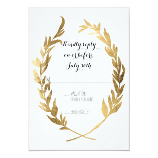 Faux Gold RSVP Laurel Wreath Olive Leaf Branch Card