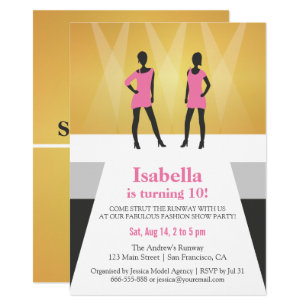 Faux Gold Runway Fashion Show Birthday Party Invitation