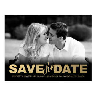 Faux Gold Save the Date Photo Postcard
