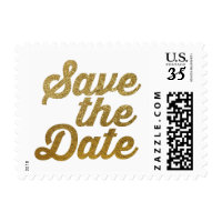 faux gold Save the Date Postage