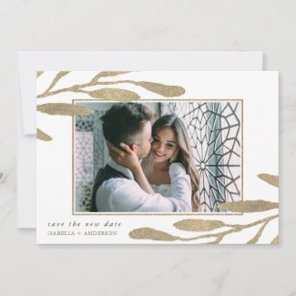 Faux Gold Save the New Date Photo Wedding Announcement