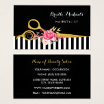 Faux Gold Scissors Stripes Pink Floral Hair Salon Business Card at Zazzle