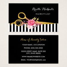 Faux Gold Scissors Stripes Pink Floral Hair Salon Business Card at Zazzle