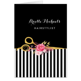 Faux Gold Scissors Stripes Pink Floral Hair Salon Card