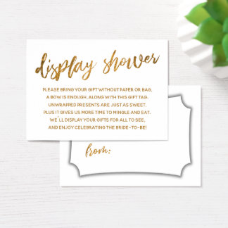Faux Gold Script Display Bridal Shower Gift Card