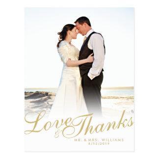 Faux Gold Script Modern Love Thanks White Postcard