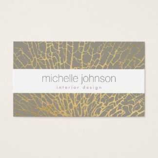 Faux Gold Sea Fan Pattern Interior Designer Gray Business Card
