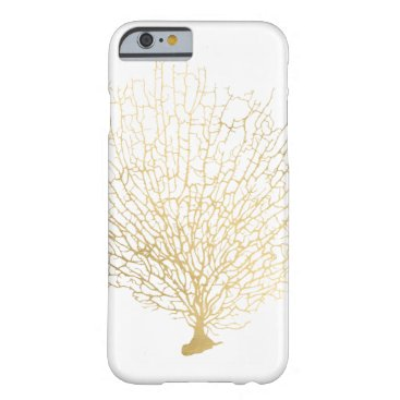Beach Themed Faux Gold Sea Fan Sea Coral Barely There iPhone 6 Case
