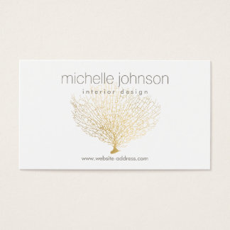 Faux Gold Sea Fan Sea Coral Interior Designer Business Card