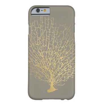 Beach Themed Faux Gold Sea Fan Sea Coral on Gray Barely There iPhone 6 Case
