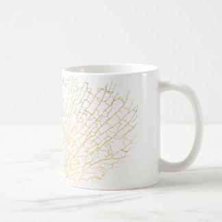 Faux Gold Sea Fan Sea Coral White Mug