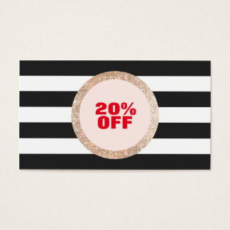 Faux Gold Sequin Black and White Striped Coupon 2 Business Card