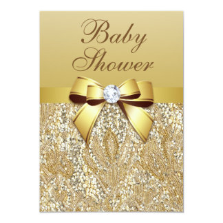 "Faux Gold Sequins and Bow Baby Shower 5"" X 7"" Invitation Card"