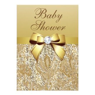 Faux Gold Sequins and Bow Baby Shower Invites