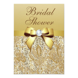 "Faux Gold Sequins and Bow Bridal Shower 5"" X 7"" Invitation Card"