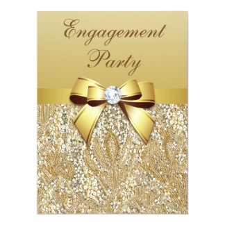 Faux Gold Sequins and Bow Engagement Party Card