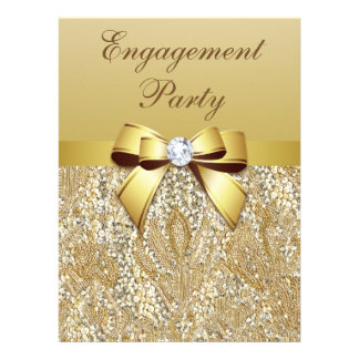 Faux Gold Sequins and Bow Engagement Party Announcements