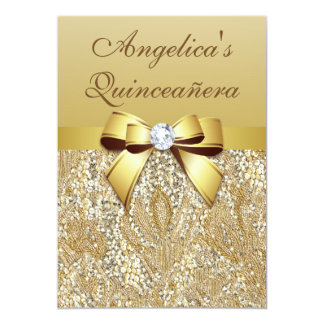 Faux Gold Sequins and Bow Quinceañera Custom Announcement