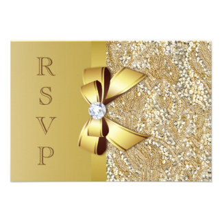 Faux Gold Sequins and Bow RSVP Personalized Invitation