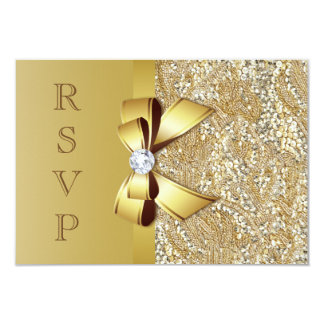 "Faux Gold Sequins and Bow RSVP 3.5"" X 5"" Invitation Card"