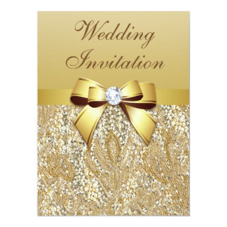 Faux Gold Sequins and Bow Wedding 6.5x8.75 Paper Invitation Card