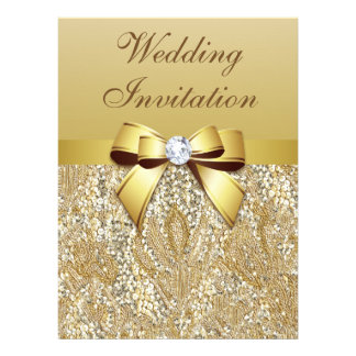 Faux Gold Sequins and Bow Wedding Invite