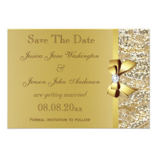 Faux Gold Sequins and Bow Wedding Save The Date Personalized Announcement