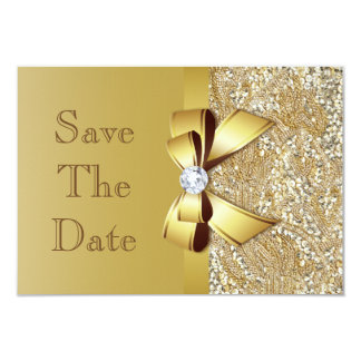 "Faux Gold Sequins and Bow Wedding Save The Date 3.5"" X 5"" Invitation Card"