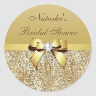 Faux Gold Sequins Bow Diamond Bridal Shower Classic Round Sticker