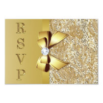 Faux Gold Sequins Bow Diamond RSVP Invitation