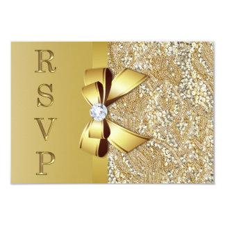 Faux Gold Sequins Bow Diamond RSVP Invitation