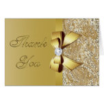 Faux Gold Sequins Bow Diamond Thank You Card