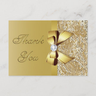 Faux Gold Sequins Bow Diamond Wedding Thank You