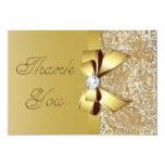 Faux Gold Sequins Bow Diamond Wedding Thank You Card