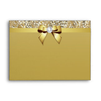 Faux Gold Sequins Diamond and Bow Envelope
