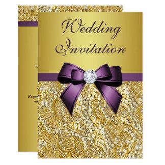 Faux Gold Sequins Diamonds Purple Bow Wedding Card