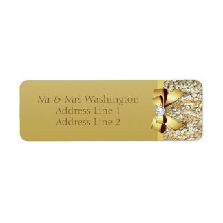 Faux Gold Sequins Gold Bow and Diamond Label