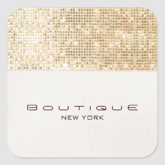 FAUX Gold Sequins Linen Look Trendy and Chic Square Sticker