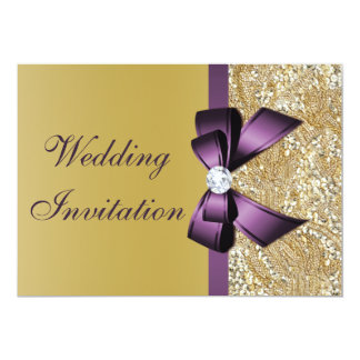 Faux Gold Sequins Purple Bow Wedding Card