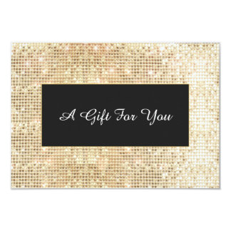 Faux Gold Sequins Spa and Salon Gift Certificate 3.5x5 Paper Invitation Card