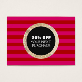Faux Gold Sequins Striped Fashion & Beauty Coupon Business Card