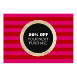 Faux Gold Sequins Striped Fashion & Beauty Coupon Large Business Card