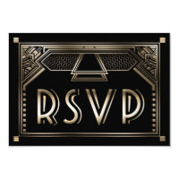 Faux Gold Shaded Gatsby Art Deco Wedding RSVP Card