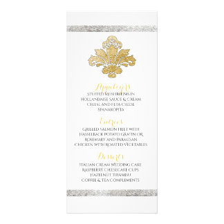 Faux Gold/Silver Damask Dinner Party Menu Black