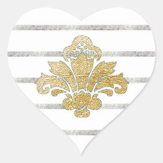 Faux Gold/Silver Leaf Damask Heart Sticker Teal