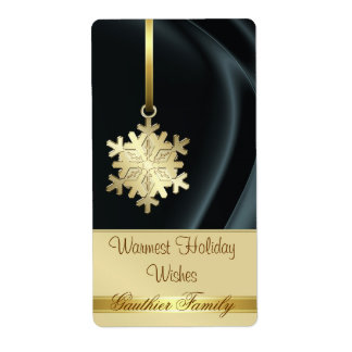Faux Gold Snowflake Black Silk Holiday Wine Label Shipping Label