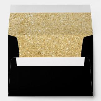 Faux Gold Sparkle Lined Wedding Invitation Envelope