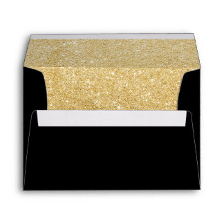 Faux Gold Sparkle Lined Wedding Invitation Envelope