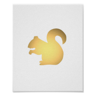 Faux gold squirrel silhouette cute animals print