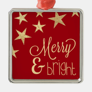 Faux Gold Star   Merry & Bright Holiday Ornament
